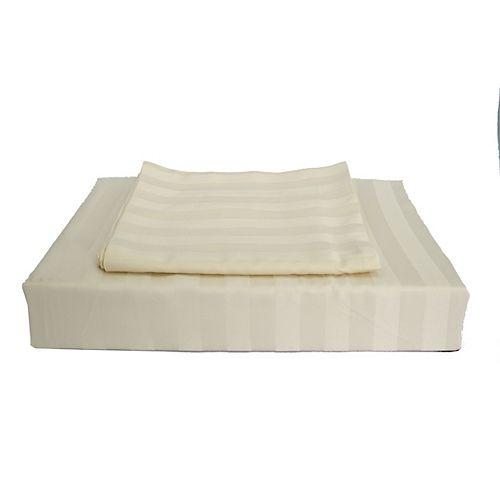 310 fils au pouce, Bamboo Stripe - Ensemble de housse de couette, Beige, très grand lit