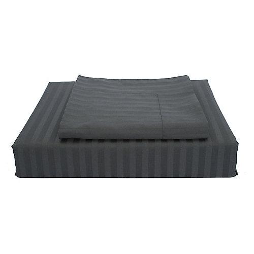400TC Damask Stripe Duvet Cover Set, Black, King