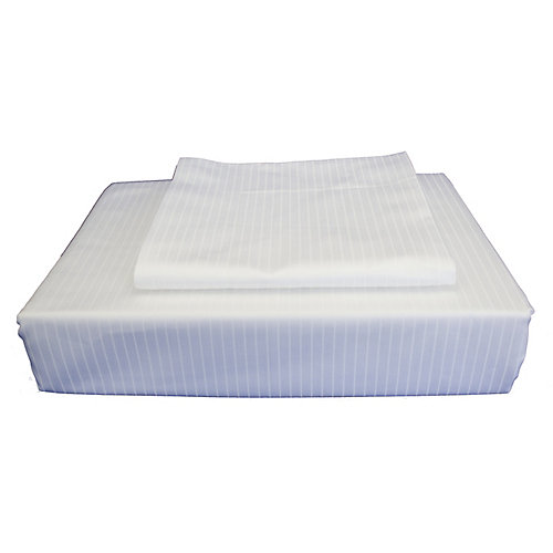 600TC Tuxedo Stripe Duvet Cover Set, White, King