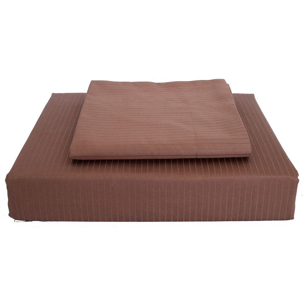 Maholi 600TC Tuxedo Stripe Duvet Cover Set, Cocoa, King