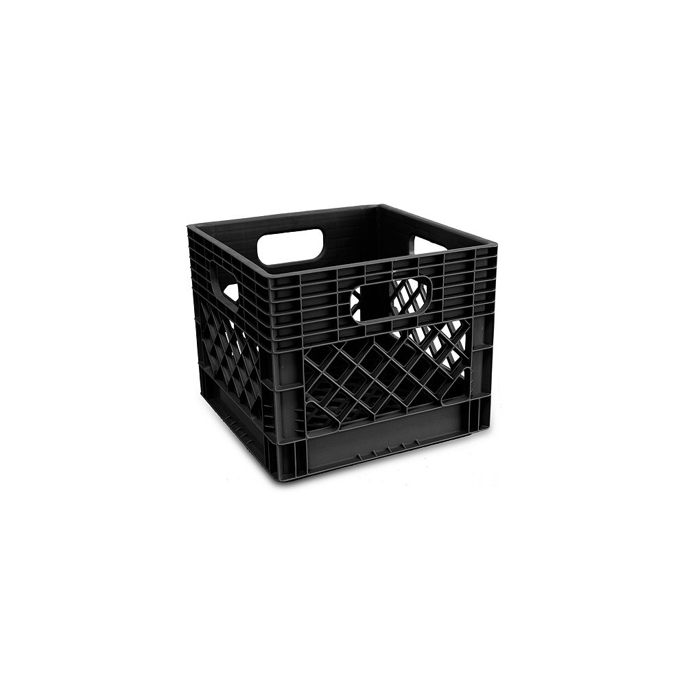 Hdx Heavy Duty Milk Crate With Reinforced Handles The Home Depot Canada