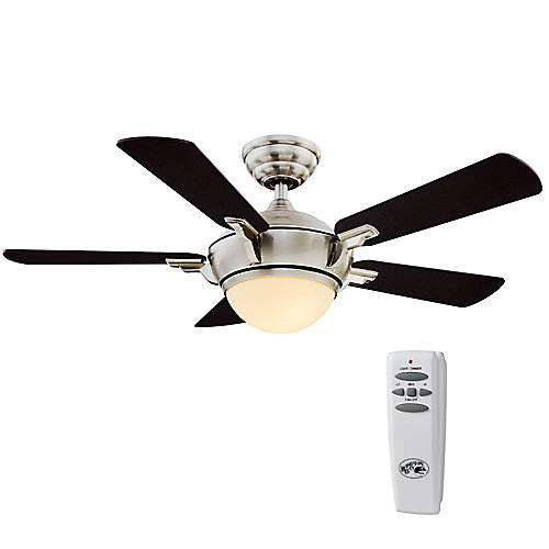 Midili 44-inch LED Indoor Brushed Nickel  Ceiling Fan with Light Kit and Remote Control
