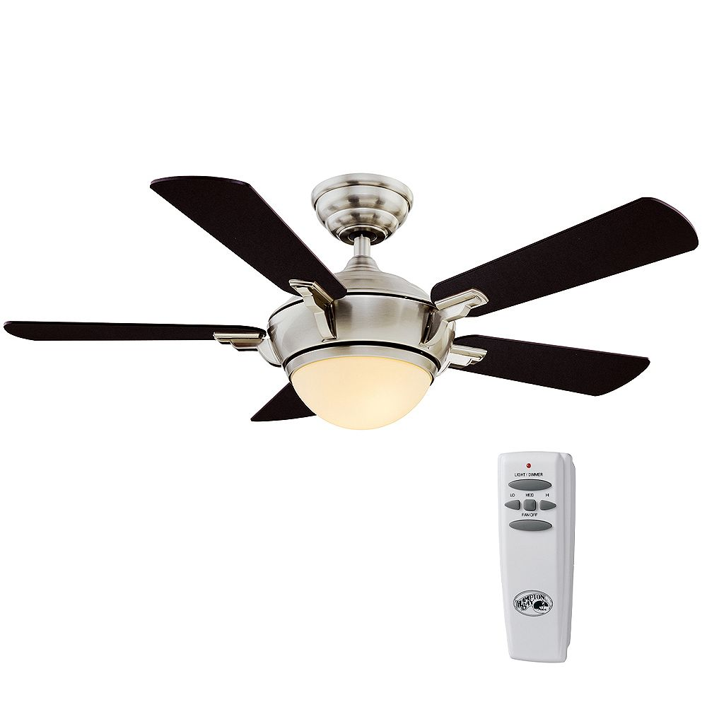 Hampton Bay Midili 44-inch LED Indoor Brushed Nickel  Ceiling Fan with Light Kit and Remote Control