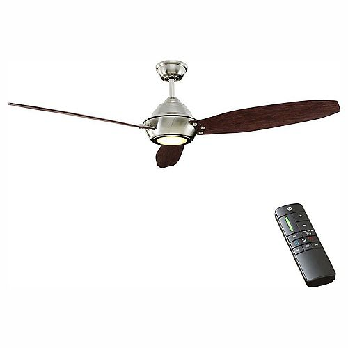 Home Decorators Collection Aero Breeze 60-inch Integrated LED Indoor/Outdoor Brushed Nickel Ceiling Fan with Light Kit and Remote Control