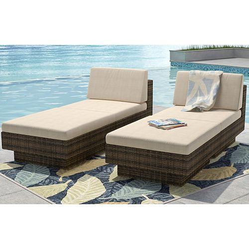 Park Terrace Saddle Strap Weave 4-Piece Lounger Patio Set