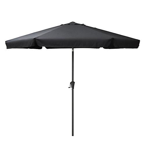 Parasol de patio rond et inclinable noir de 10 pieds