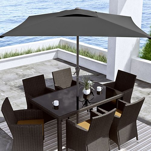 9 ft. Square Tilting Black Patio Umbrella