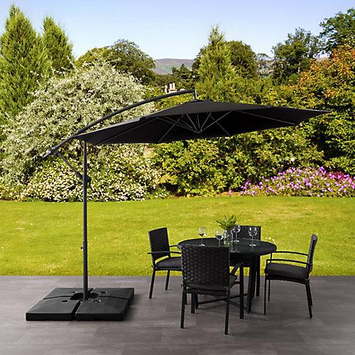 Parasol de patio excentré et resistant aux UV noir de 9,5 pieds