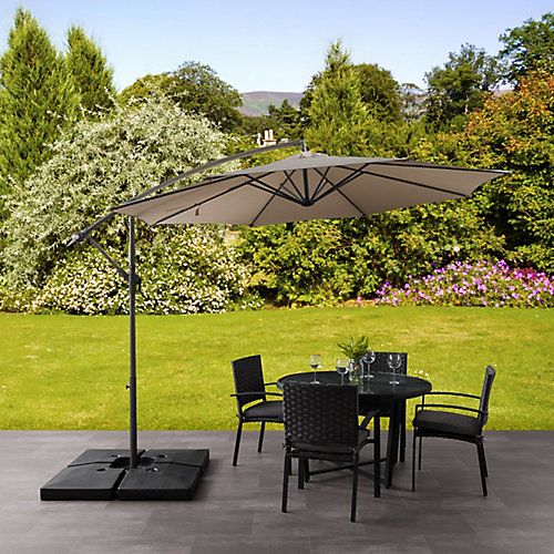 9.5 ft. UV Resistant Offset Sandy Brown Patio Umbrella