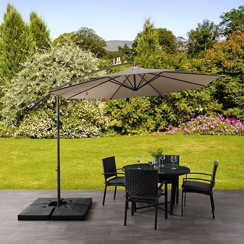 Corliving 9.5 ft. UV Resistant Offset Sandy Brown Patio Umbrella