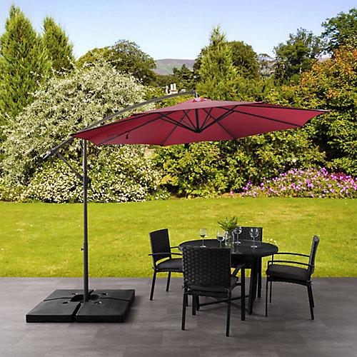 Parasol de patio excentré et resistant aux UV rouge vin de 9,5 pieds