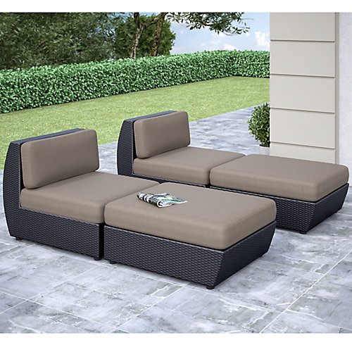 Seattle Curved 4-Piece Lounger Patio Set
