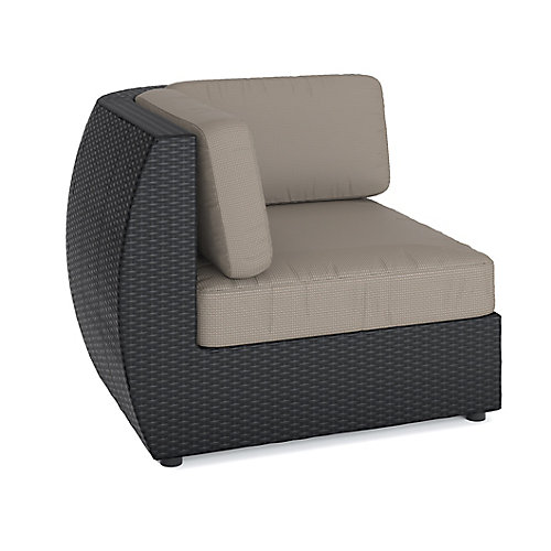 Seattle Corner Patio Sectional Seat in Textured Black Weave