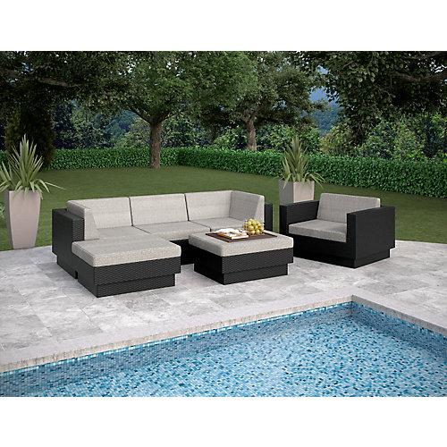 PPT-305-Z Park Terrace - Ensemble Patio composable 6 pièces double accoudoirs en résine noire