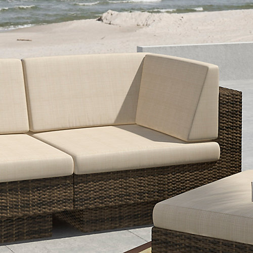 Park Terrace Corner Patio Sectional Seat in Saddle Strap Weave