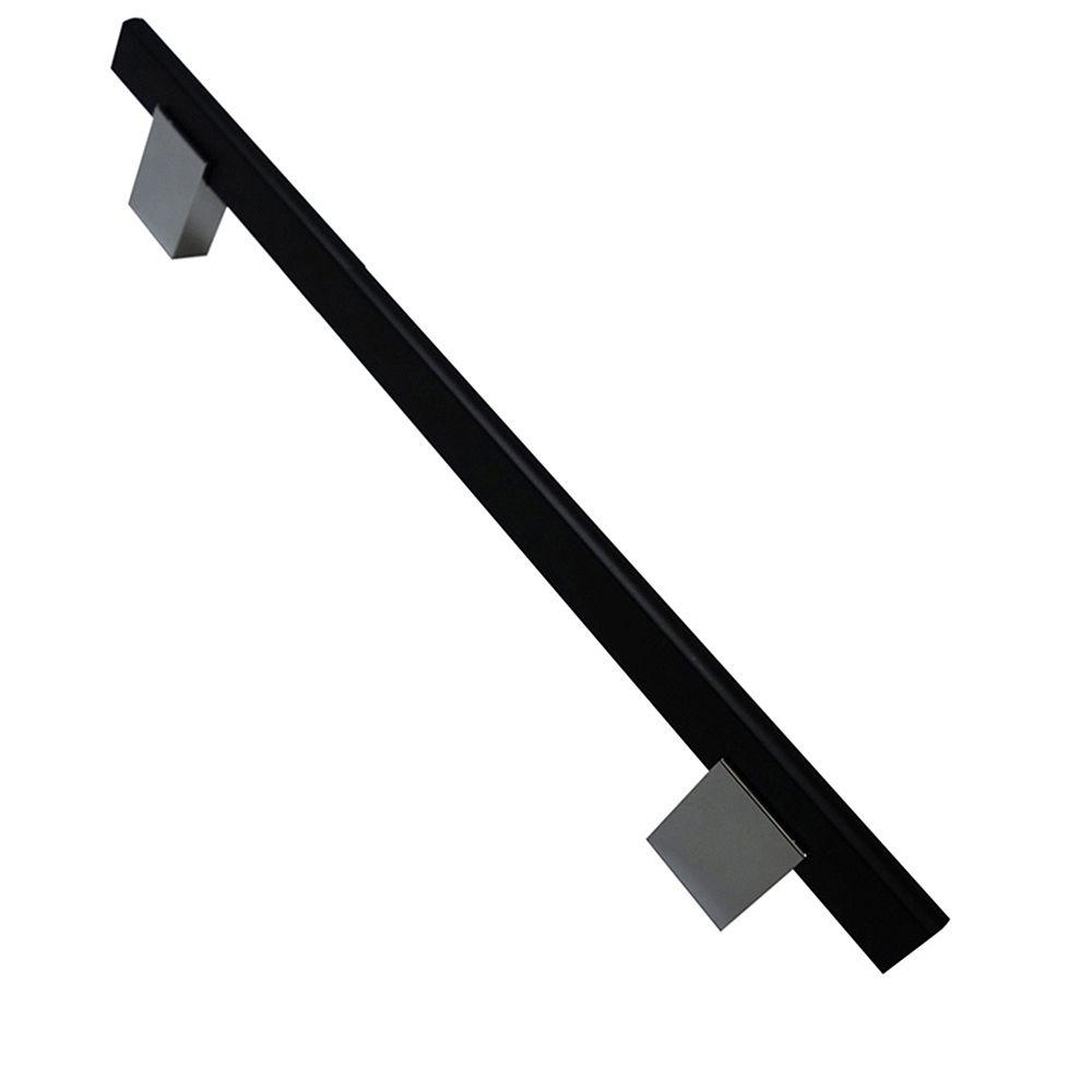 Richelieu Collection Madison Poignée Contemporaine Noir mat et Chrome 7 9/16 po (192 mm) Centre à Centre
