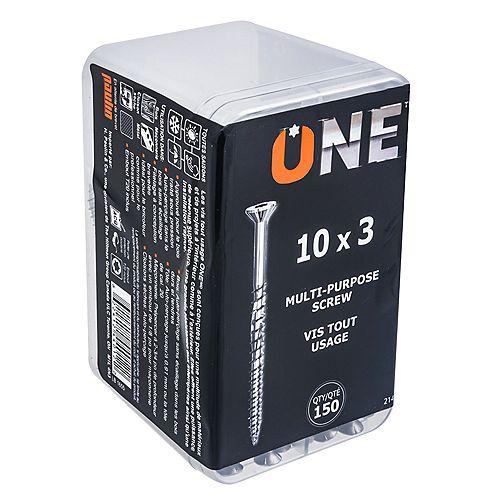 #10 x 3-inch Multi Purpose Screw with Driver Bit - 150pcs