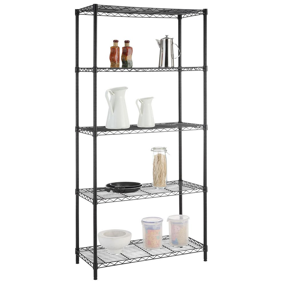 Hdx 72 Inch H X 36 Inch W X 16 Inch D 5 Tier Shelving Unit In Black The Home Depot Canada