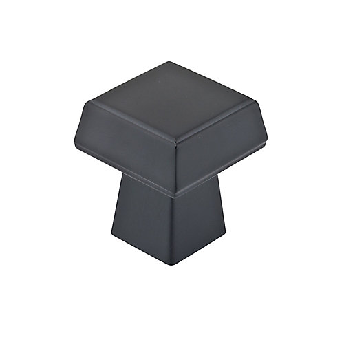 Contemporary Metal Knob  Matte Black - Donnacona Collection