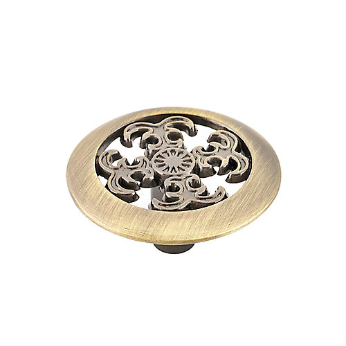 Traditional Metal Knob 1 1/2 in (38 mm) Dia - Antique English - Marseille Collection