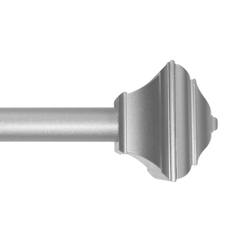 Home Decorators Collection 28-inch to 48-inch 5/8-inch Curtain Rod Kit in Silver with Decorative Square Finial