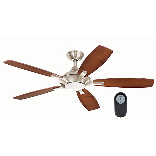 Petersford 52-inch Integrated LED Indoor Brushed Nickel Ceiling Fan with Light Kit and Remote Control