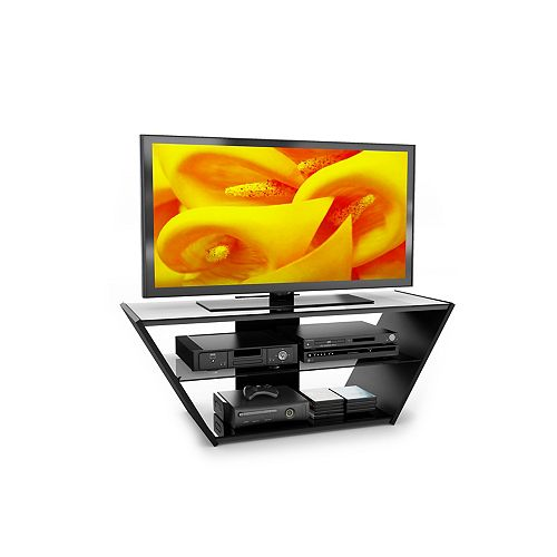 "VN-5540 Venice 54"" Midnight Black and Glass TV Stand"