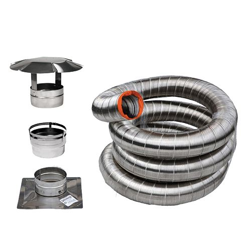 Vortex 35 Feet. Stainless Flex Liner Kit For Inserts  (6 Inch )