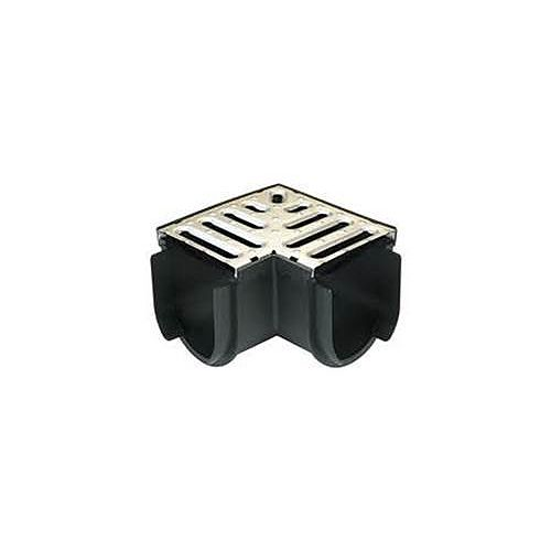Storm Drain Deep Series Corner with Stainless Steel Grate
