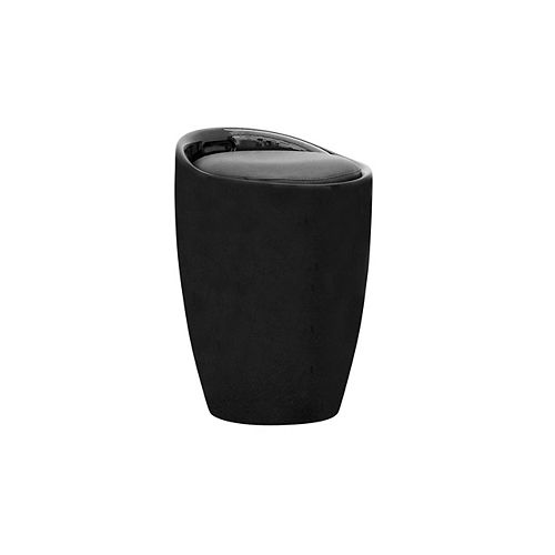 DPV 600 S Leather Black Contemporary Armless Bar Stool with Black Leather Seat