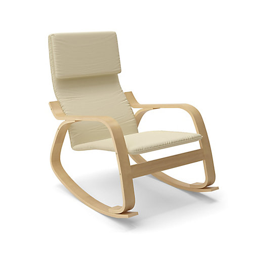 LAQ-665-C Chaise berçante Aquios Bentwood en Blanc Chaud