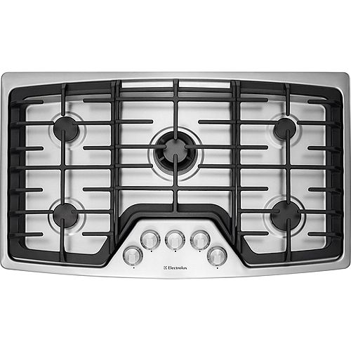 36-inch Gas Cooktop with 5 Burners in Stainless Steel