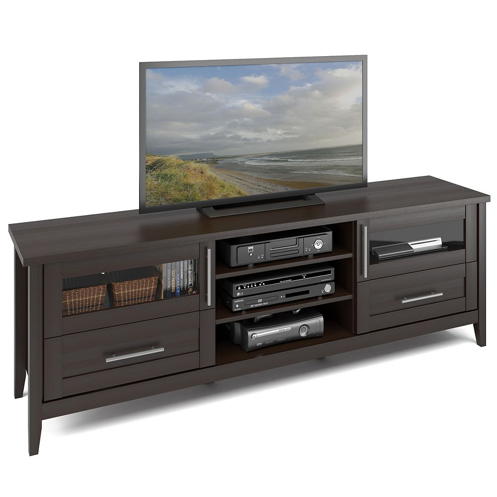Corliving TJK-687-B Jackson Extra Wide TV Bench in Espresso Finish