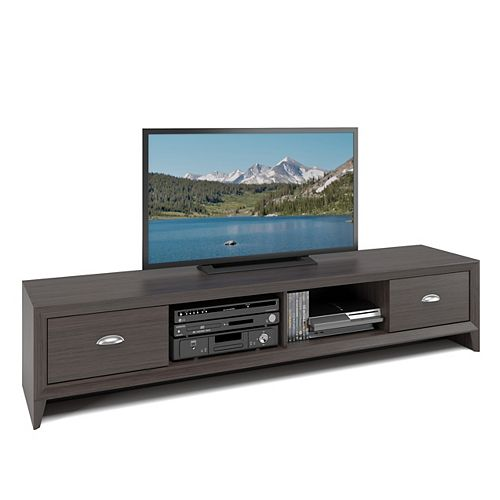 Corliving TLK-872-B Lakewood Extra Wide TV Bench in Modern Wenge Finish
