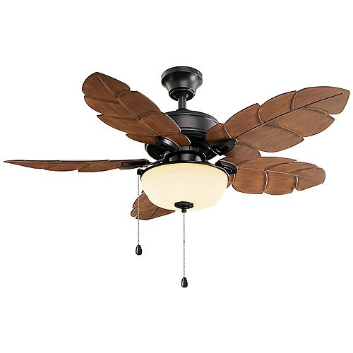 Palm Cove 44-inch LED Indoor/Outdoor Natural Iron Ceiling Fan with Light Kit