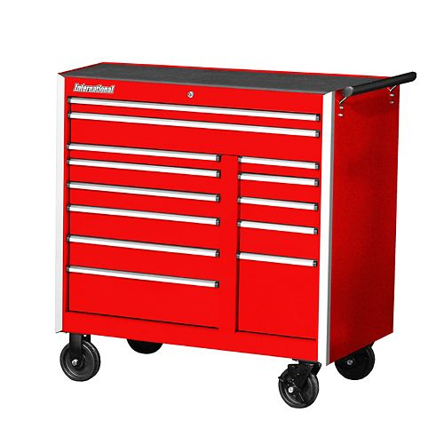 Professional Series 42-inch 13-Drawer Extra Deep Tool Storage Cabinet in Red