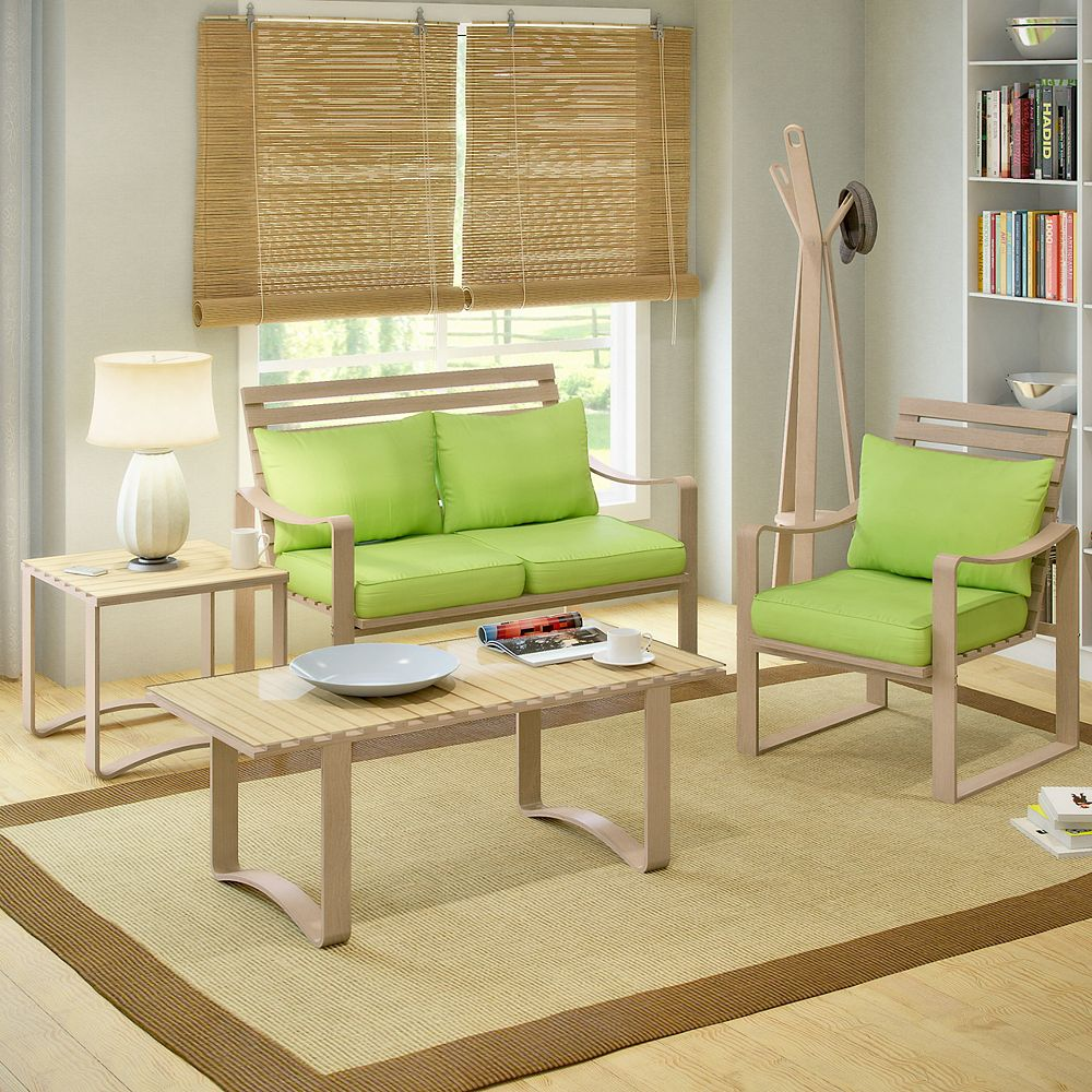 Corliving Lcq 837 Z1 Aquios Bentwood And Apple Green 5 Piece Living Room Set The Home Depot Canada