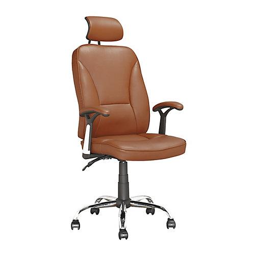 LOF-699-O Chaise de bureau exécutif en similicuir Brun Pâle