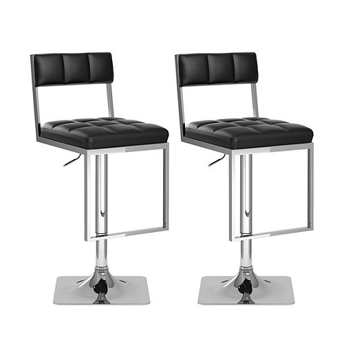 Corliving DAB 808 B Metal Chrome Low Back Armless Bar Stool with Black Faux Leather Seat - (Set of 2)