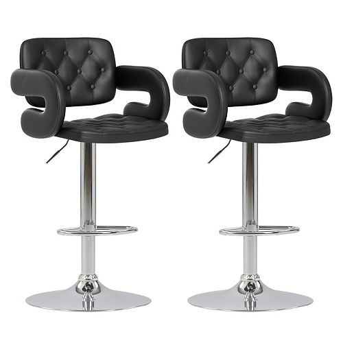 DAB 909 B Metal Chrome Low Back Armless Bar Stool with Black Faux Leather Seat - (Set of 2)