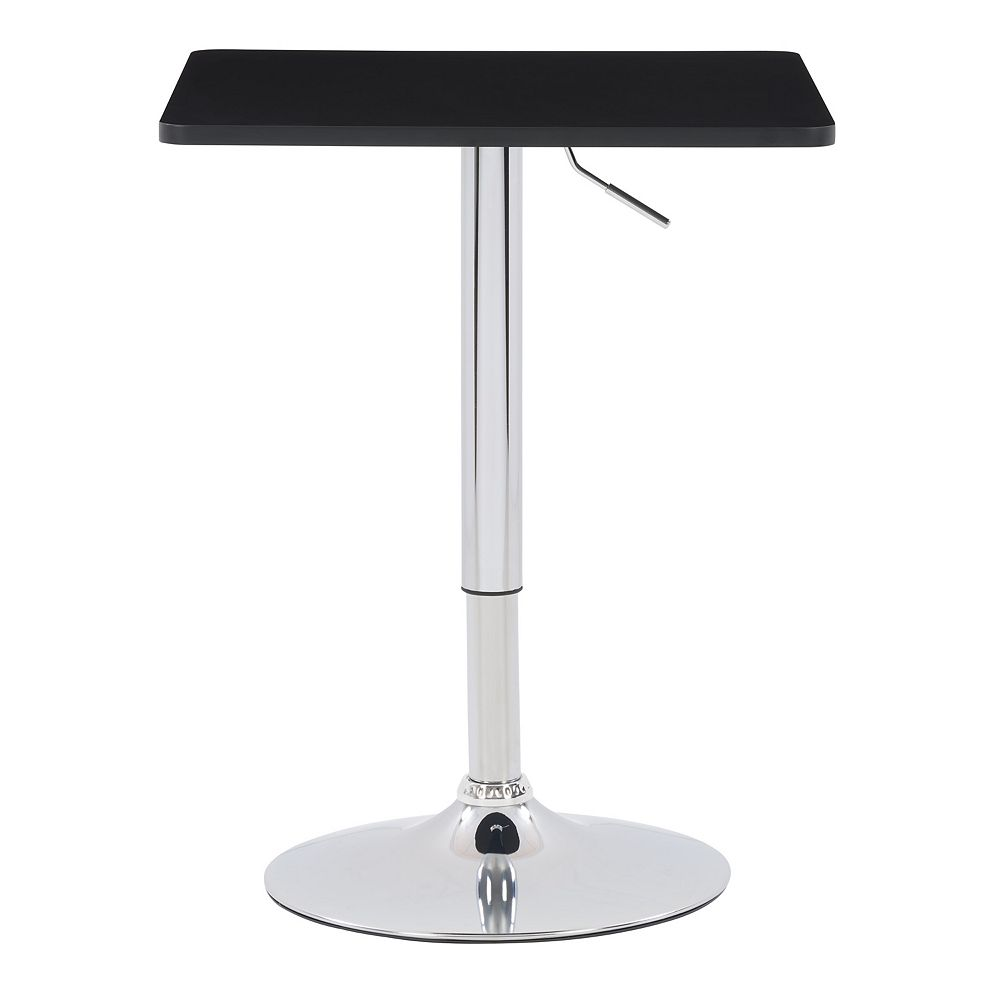 Corliving 23.5-inch x 23.5-inch Adjustable Height Square Wooden Table in Black with Chrome Base