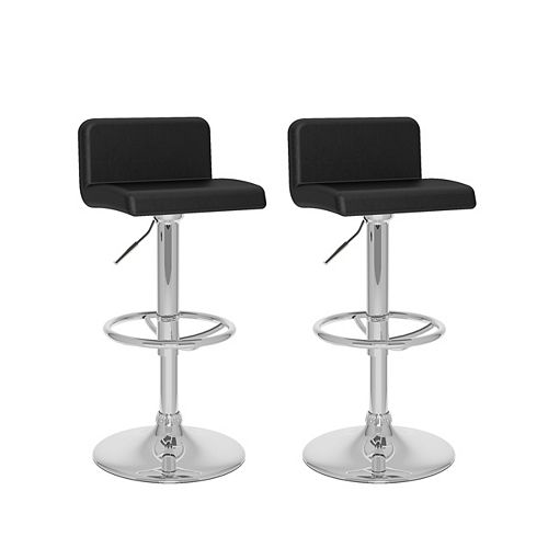 Corliving DPU-703-B Low Back Adjustable Barstool in Black Leatherette, set of 2
