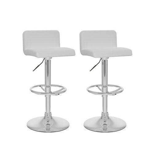 DPU-713-B Low Back Adjustable Barstool in White Leatherette, set of 2
