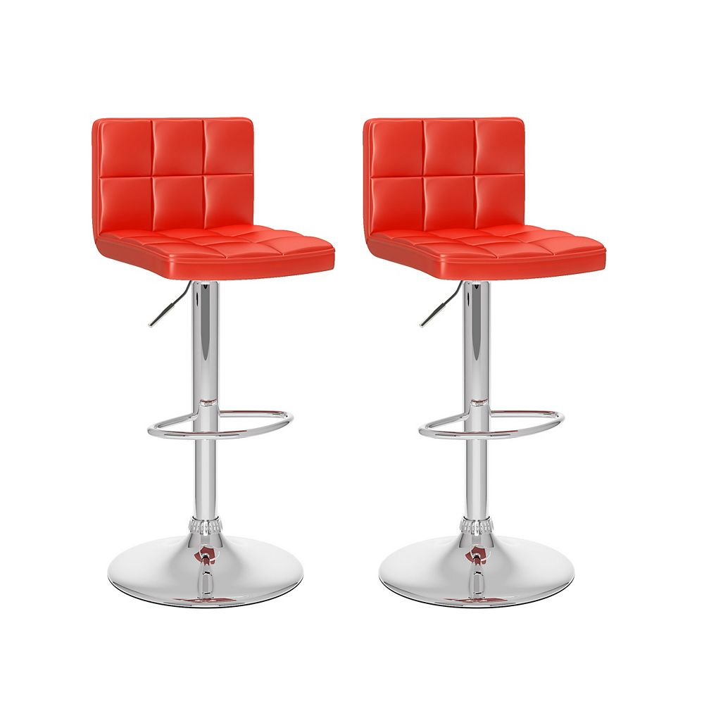 Corliving DPU-754-B Mid Back Square Panel Red Leatherette Adjustable Barstool, set of 2