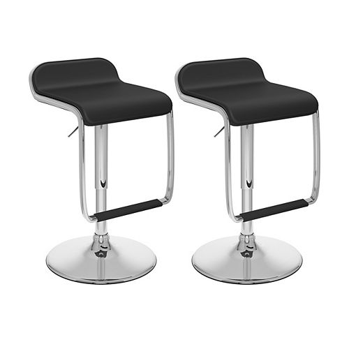 Corliving DPV-206-B Adjustable Barstool with Footrest in Black Leatherette, set of 2