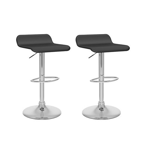 Corliving DPV-208-B Curved Adjustable Barstool in Black Leatherette, set of 2