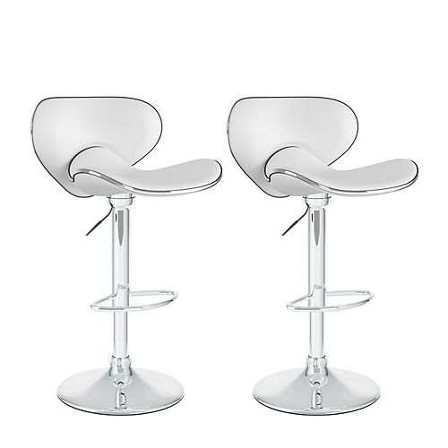 Corliving DPV-215-B Curved Form Fitting Adjustable Barstool in White Leatherette, set of 2