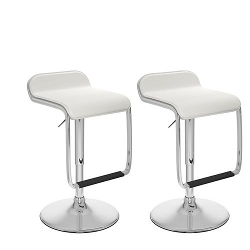 Corliving DPV-216-B Adjustable Barstool with Footrest in White Leatherette, set of 2