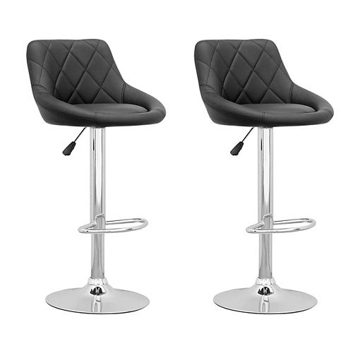 DPV 507 B Metal Chrome Low Back Armless Bar Stool with Black Faux Leather Seat - (Set of 2)