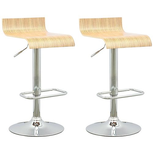 DWN 490 B Metal Chrome Backless Armless Bar Stool with Natural Manufactured Wood Seat (Set of 2)